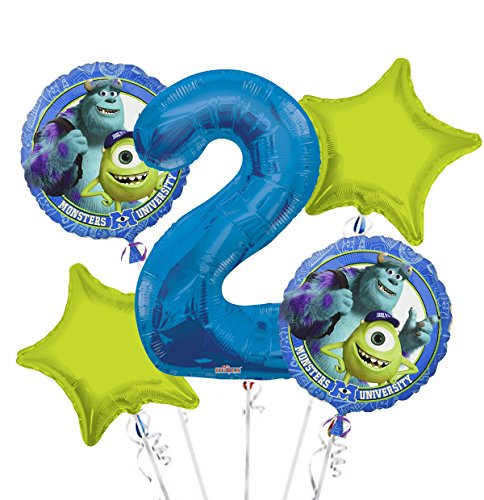 Monsters University Balloon Bouquet 2nd Birthday 5 pcs - Party Supplies