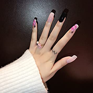 YUNAI Long Fake Nails Squoval Fales Black Jelly Color Gel Pulish Effect Nail Tips