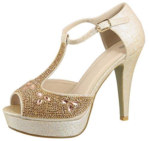 Cambridge Select Women's Peep Toe T-Strap Crystal Rhinestone Chunky Platform High Heel Sandal,10 B(M) ()