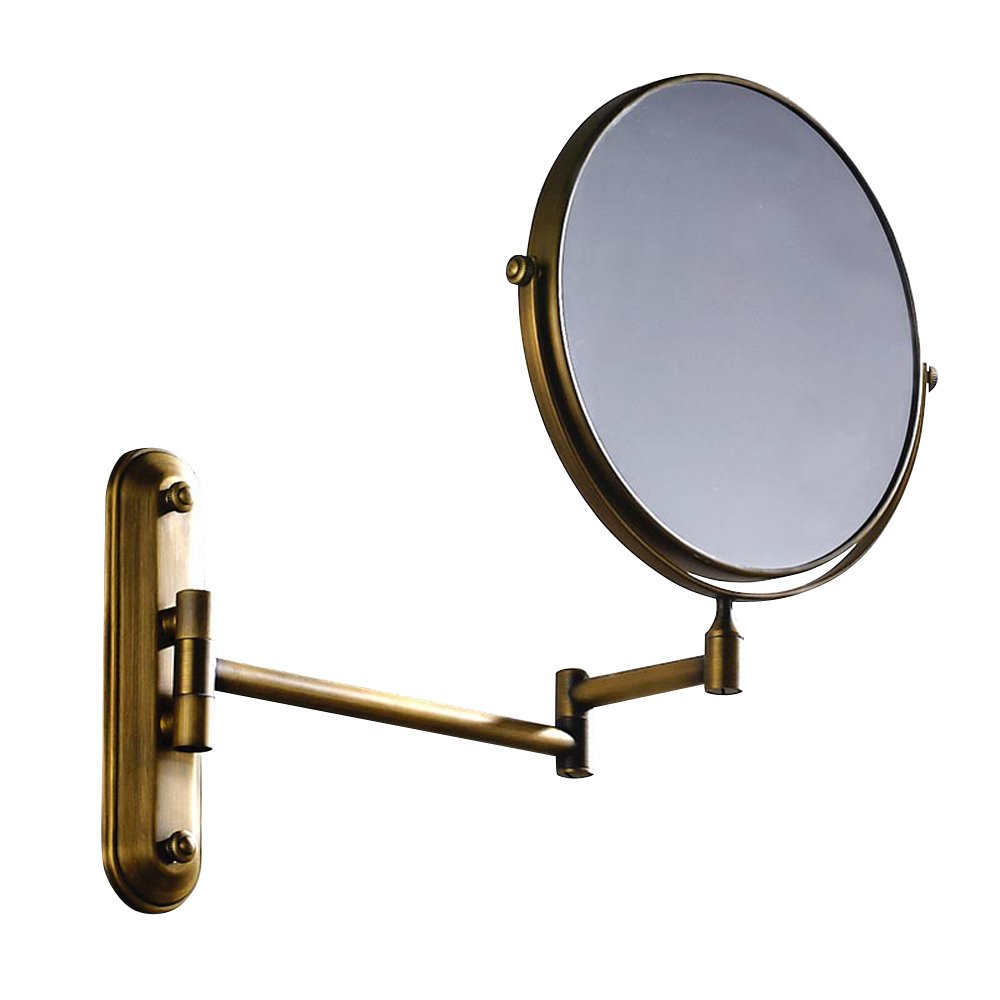 Kihappy 360° Swivel Extendable Bathroom Two-Sided Wall Mount Magnification Mirror (Brass, 8'', 3x Magnify) 8''