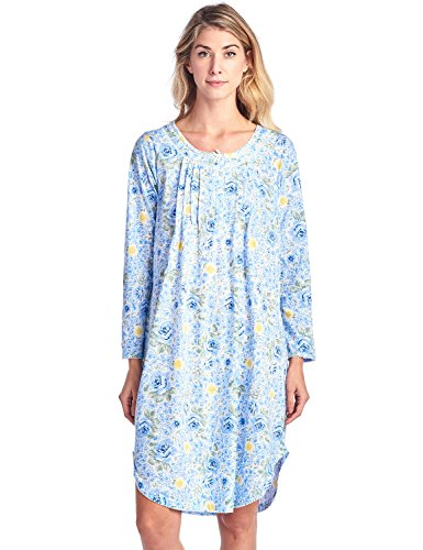 Casual Nights Women's Floral Pintucked Long Sleeve Nightgown - Blue - Small by Casual Nights