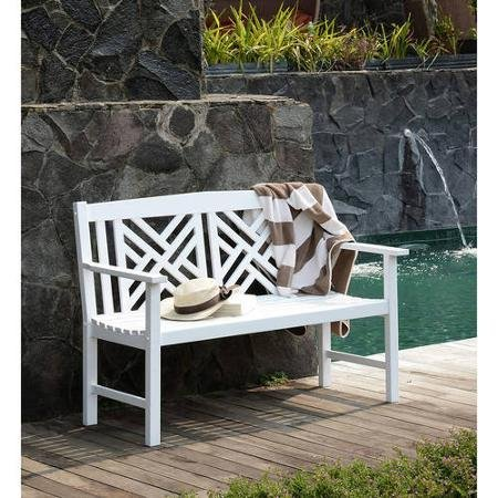 4' Lattice Bench, White by Generic