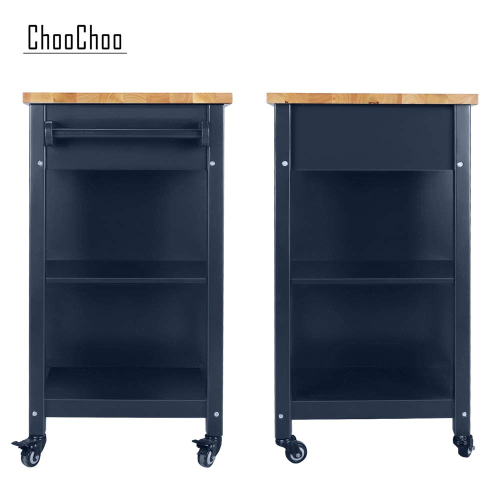 ChooChoo Kitchen Islands Cart on Wheels with Natural Rubber Wood Top, Utility Wood Kitchen Cart with Storage and Drawers, Easy Assembly - Navy Blue by ChooChoo (Image #9)