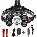Waterproof 12000 Lumen 5 Led Headlamp XML T6+4Q5 Head Lamp Powerful Led Headlight