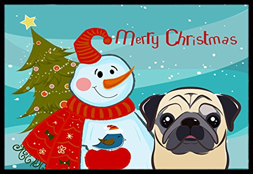 """Caroline's Treasures Snowman with Fawn Pug Indoor or Outdoor Mat, 18 by 27"""", Multicolor from Caroline's Treasures"""