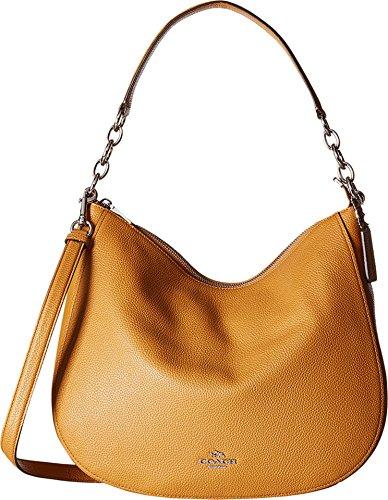 COACH Women's Polished Pebbled Leather Chelsea 32 Hobo Sv/Light Saddle Handbag