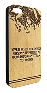 Genuine Maple Wood Organic Cute Love Quote Snap-On Cover Hard Case for iPhone 6