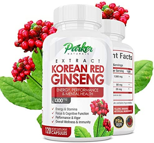 Korean Red Panax Ginseng Extract 1300 mg. Energy Performance 120 Caps. Supports Stamina, Focus, Problem Solving, Vigor, Overall Wellness, Immunity. with Ginger Root, Black Pepper, Made in USA