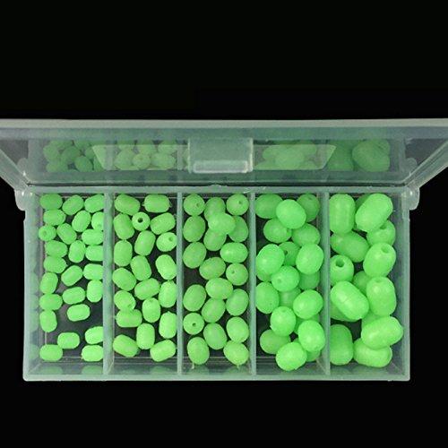 OriGlam 100pcs Soft Plastic Luminous Glow Fishing Beads, Plastic Oval Shaped Beads Round Beads Fishing Lures, Green Sea Fishing Bead Fishing Tackle Floating Tools (Lure Beads)
