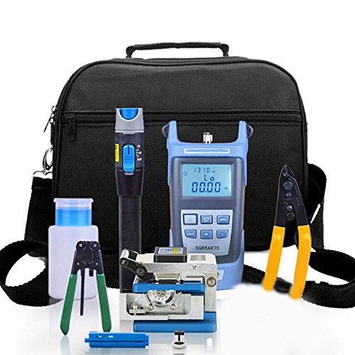 Kit Cutter Assembly (Enshey Fiber Optic FTTH Tool Kit FTTH Assembly Optical Fiber Termination Tool Kit with FC-6S Cleaver Optical Power Meter Visual Fault Locator Finder Cable Cutter Stripper 5km)
