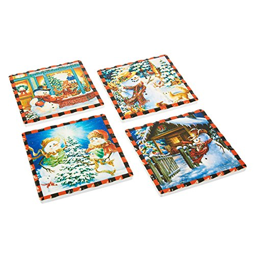 Juvale 4-Pack Ceramic Coasters - Cute, Christmas-Themed Drink Mats with Cork Backing, 4 Assorted Festive Designs - 4.3 x 0.2 x 4.3 Inches