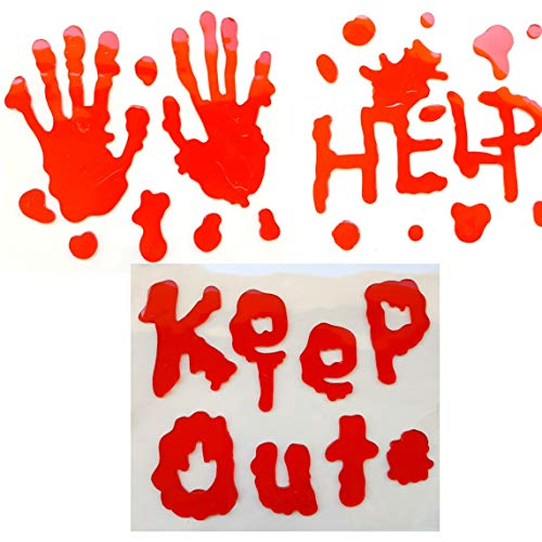 Halloween Decoration Bloody Keep Out Help Handprint Window Gel Clings Decals Stickers for Halloween Party Supplies
