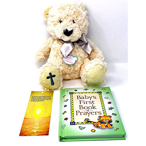 """Baptism Gift, Christening, or Confirmation Keepsake Gifts for Boy or Girl with Baby's First Book of Prayers Bible for Kids -Includes 11"""" Plush Bear that Recites Lord's Prayer and Religious Bookmark -"""