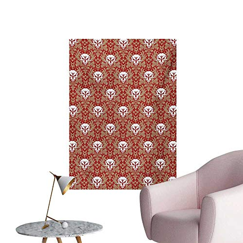 (Gothic Photographic Wallpaper Baroque Pattern with Floral Curves Old Fashioned Antique Design Skull MotifsRuby Cocoa White W20 xL28 Poster Print)