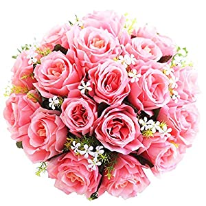 Evoio Artificial Roses Flowers, DIY Bridal Bouquet, Fake Silk Plastic Flowers 18 Heads for Office Home Garden Party Wedding Decoration 10