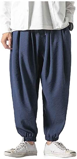 VITryst Men Cotton Linen Solid Big & Tall Ethnic Style Palazzo Trousers