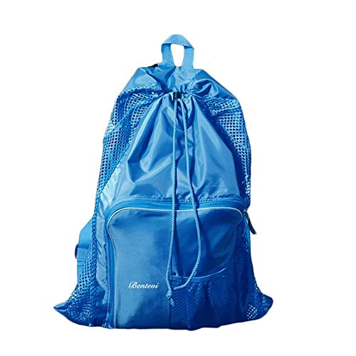 Mesh Beach Bags, Equipment Drawstring With Shoulder Straps For Swimming. (Lt Blue)