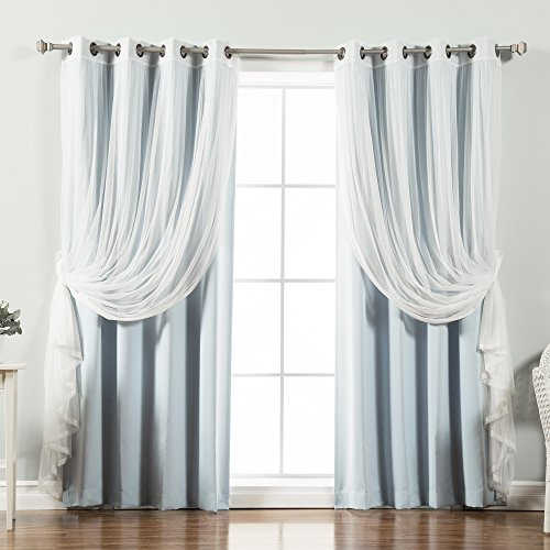 Best Home Fashion Mix & Match Tulle Sheer Lace & Blackout Curtain Set - Antique Bronze Grommet Top - Sky Blue - 52