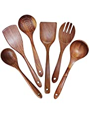 DecoForU Wooden Utensils Set Non-Stick Pan Wooden Cooking Utensils Natural Teak Utensils for Cooking Set of 6