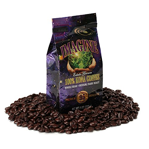 Kona Coffee Beans by Imagine - 100% Kona Hawaii - Medium Dark Roast Whole Bean 4 oz Bag