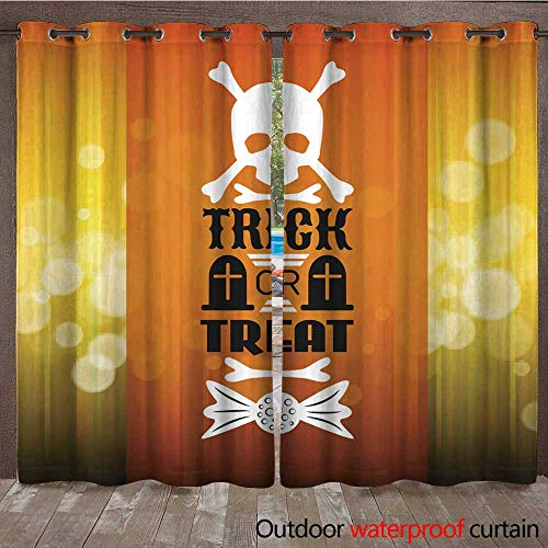 RenteriaDecor Outdoor Ultraviolet Protective Curtains Halloween Party Poster Typography Letters Font Type W96 x L108