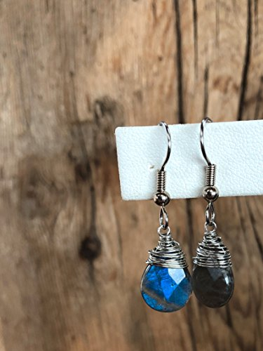 Pear Faceted Cut (Labradorite Blue Flame Faceted Flat Pear Gemstone Earrings - Hand Cut Natural - 30mm Length - Wire Wrap in Gold or Silver - 10x14mm Stone)