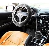 Zone Tech Non-slip Car Decoration Steering Wheel Handbrake Gear Shift Plush Cover – Auto Comfortable Thermal Steering Wheel Cover (Gray)
