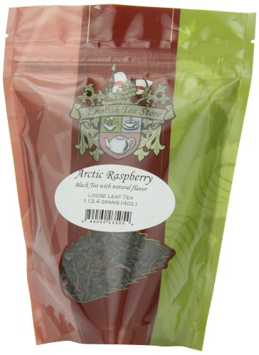 English Tea Store Loose Leaf, Arctic Raspberry Naturally flavored Black Tea Pouches, 4 (Loose Flavored Black Tea)