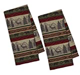 Design Imports A Walk in The Woods Table Linens, 18-Inch by 28-Inch Dishtowels, Set of 2, Back Country Stripe Jacquard