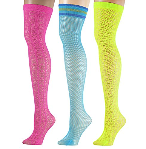 Isadora Paccini Women's 6-Pairs Fishnet Lace Thigh High Stockings -