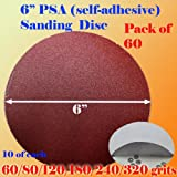 Pack of 60 6'' PSA Self Adhesive 60/80/120/180/240/320 Grit Sanding Disc Stick on Sandpaper Peel Air Sander