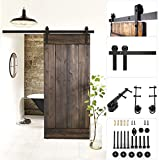 FEMOR 6FT / 6.6FT Modern Sliding Barn Wood Door Hardware Closet Set For Single Wooden Door Black (6FT /1830mm)
