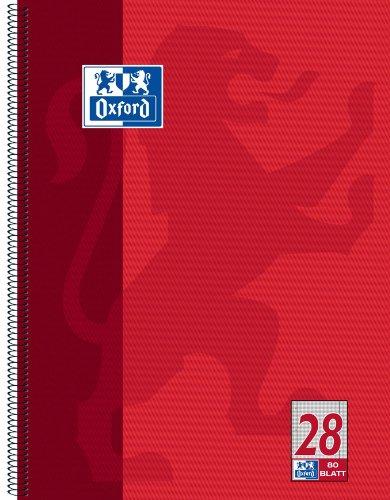 Oxford 100050361 Collegeblock, A4+, kariert / Rand li. + re. / 4-fach gelocht / Mikroperforation, 80 Blatt, 10er Pack, rot