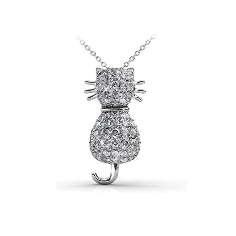 White Crystal from Swarovski Cat Pendant CRY D220 B  bluee Pearls