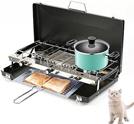 KinshopS pliable R/échaud /à gaz camping Cuisine Appareil de cuisson Folding r/échaud 4,5 kW gaz plaque de cuisson avec plaque de grill barbecue cuisson Gratiner