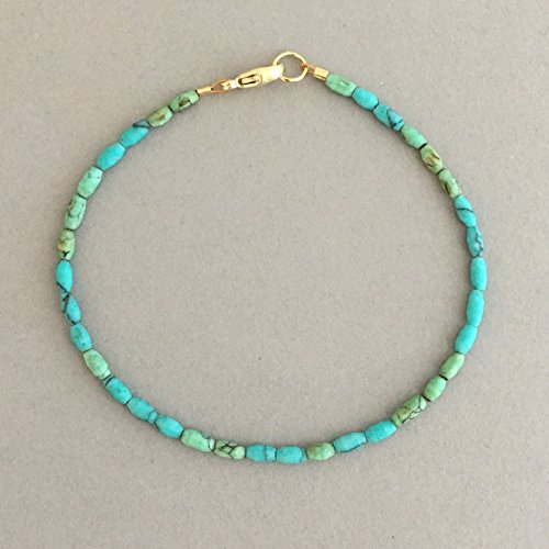 Turquoise Stone Tube Gold Bracelet also available in Silver