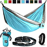 Cyan and Grey Flagship-X Double Hammock fits 2 adults. Comes with everything including hammock, tree straps, carabiners, and a fire-starting survival paracord bracelet.