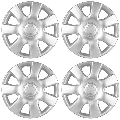 Hubcaps 15 inch Wheel Covers - (Set of 4) Hub Caps for 15in Wheels Rim Cover - Car Accessories Silver Hubcap Best for 15inch Cars Standard Steel Rims - Snap On Auto Tire Replacement Exterior Cap ()