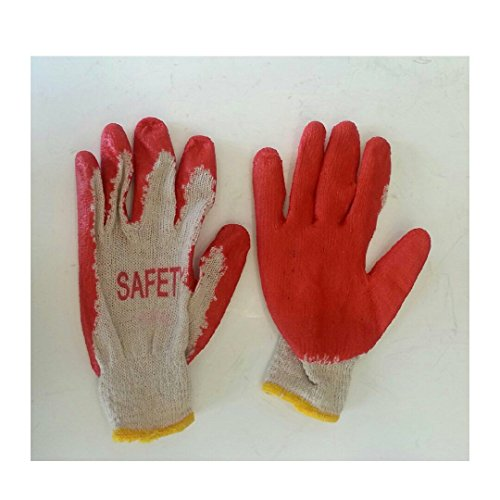 (300 Pairs Working Glove Cotton/poly with Red Latex Rubber Palm Coated (1box))