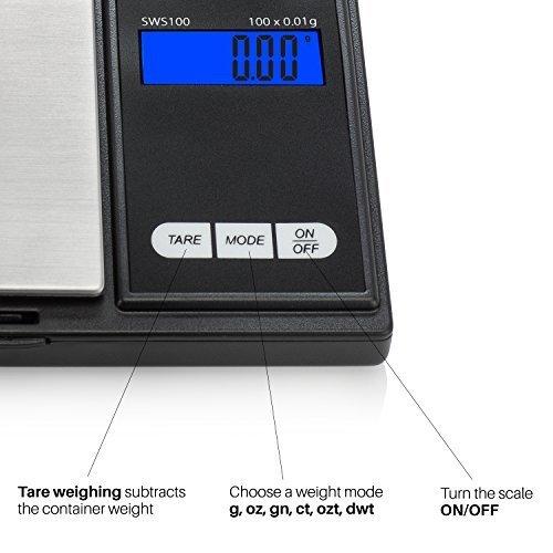 Escala de Bolsillo, Escala de Precisión Digital 100g / 0.01g, Balanza Digital, Escala de Gramos, Escala de oro, Báscula de Monedas con Pantalla LCD, ...