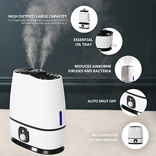 Large Product Image of Everlasting Comfort Ultrasonic Humidifier (6L) - Essential Oil Tray, High Mist Output, Adjustable Knob and 360 Deg. Nozzles. Ultra Quiet, Auto Shut Off, Night Light, Large Capacity Vaporizer