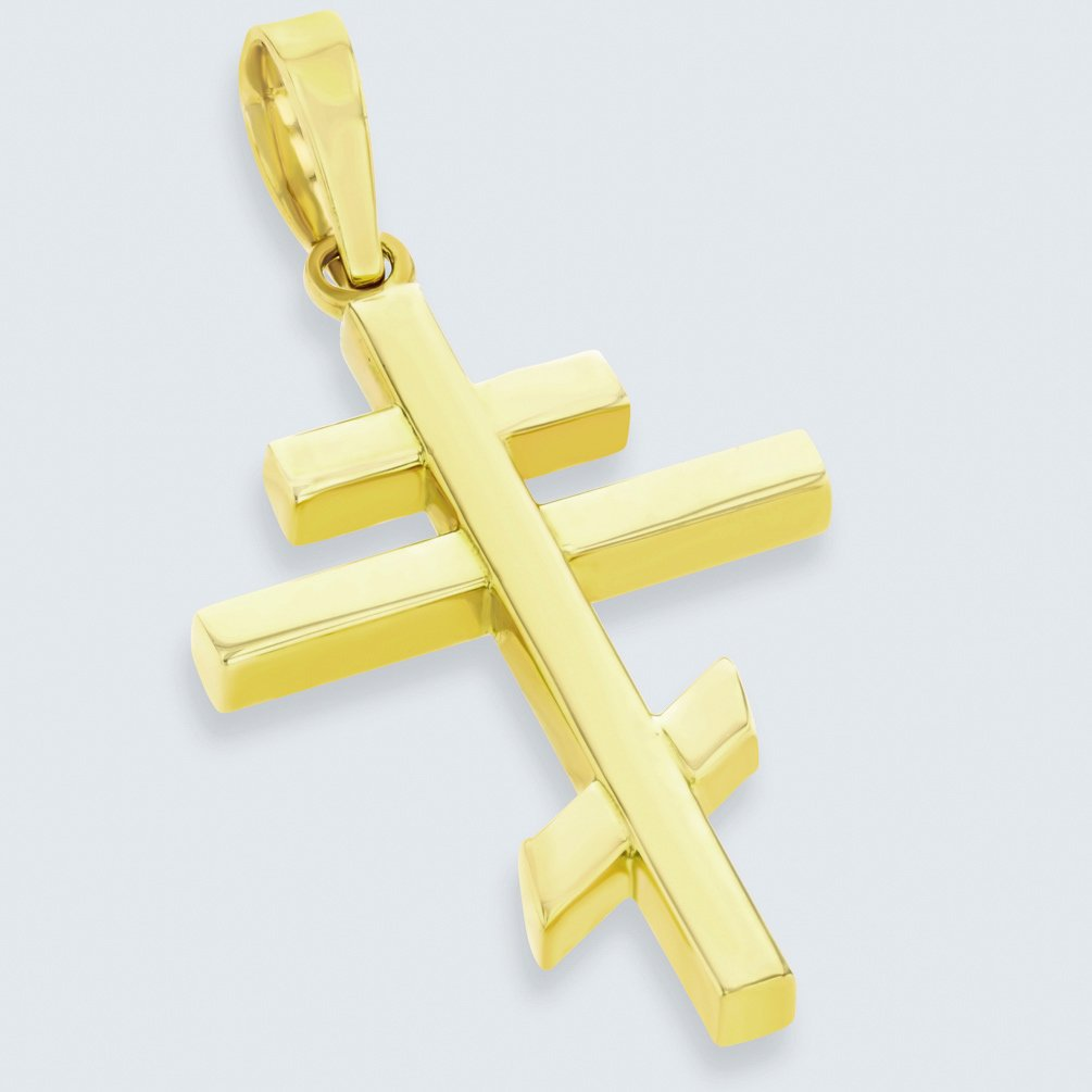 14K Yellow Gold Plain Russian Orthodox Cross Pendant Necklace with Cuban Chain Necklace 16 JewelryAmerica AR-CU62790Y-pn-16