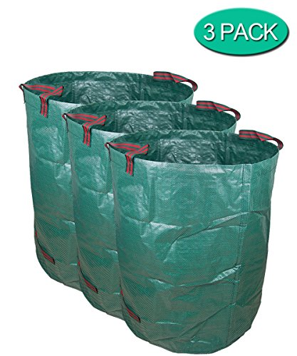 Garden Waste Bag, Collapsible & Reusable Gardening Lawn Leaf Bags 72 gallons/272 L Heavy Duty 3 Pack NINAT