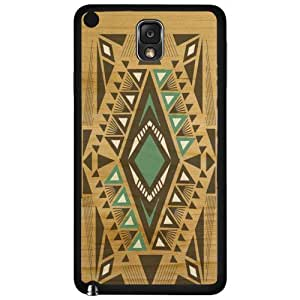 Teal and Black Aztec Tribal Pattern on Wood Background Hard Snap on Phone Case (Note 3 III) by supermalls