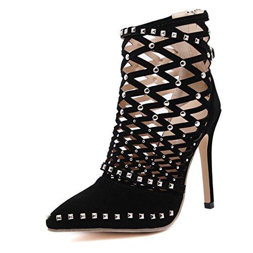 LvYuan-mxx Los zapatos de los altos talones de las mujeres / el verano del resorte / los remaches huecos señalaron el dedo del pie / los cargadores frescos / la oficina y el vestido del banquete de la BLACK-35