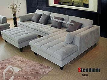 Amazon Com 3pc Contemporary Grey Microfiber Sectional Sofa Chaise