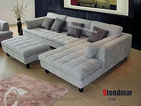 3pc New Modern Gray Microfiber Sectional Sofa S168RG