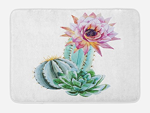 Ambesonne Cactus Bath Mat, Cactus Spikes Flower in Hot Mexican Desert Sand Botanical Natural Image, Plush Bathroom Decor Mat with Non Slip Backing, 29.5 W X 17.5 W Inches, Pink Green and Blue (Desert Sand Rug)