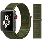 Prime Retail Nylon WatchBand Strap Sport Loop Compatible for Apple iWatch Series 5 Series 4 Series 3 Series 2 Series 1 38mm/40mm-Olive Green