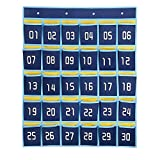 Ozzptuu 30 Pockets Dark Blue Numbered Classroom Pocket Charts for Cell Phones Wall Door Hanging Organizer Storage Bag with 4 Hooks